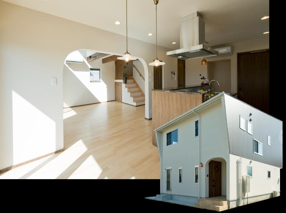 家事動線を考えた回廊型のキッチンと吹き抜けのある家